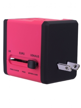 Variplug Dual USB Travel Adapter Pink